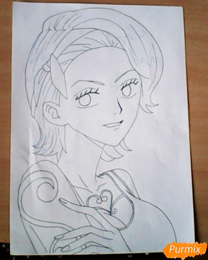 Рисуем и раскрасить портрет Ноджико из One Piece пошагово простым - шаг 18