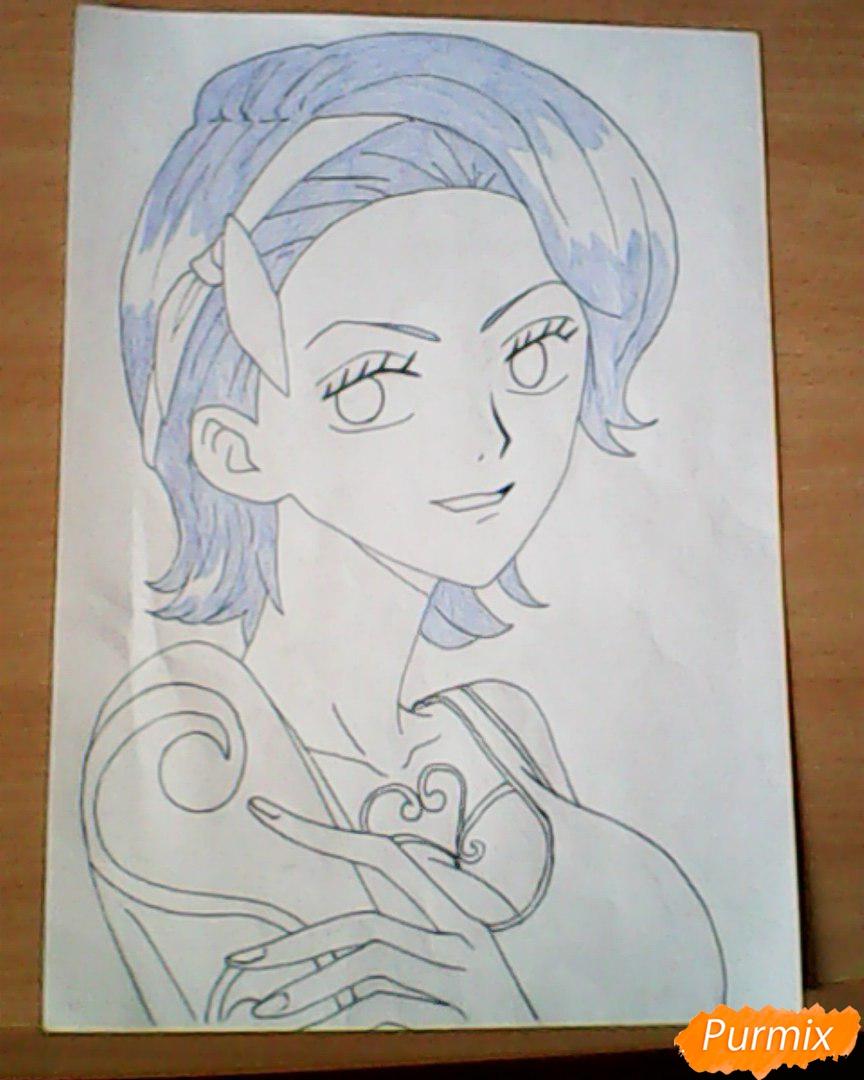 Рисуем и раскрасить портрет Ноджико из One Piece пошагово простым - шаг 19