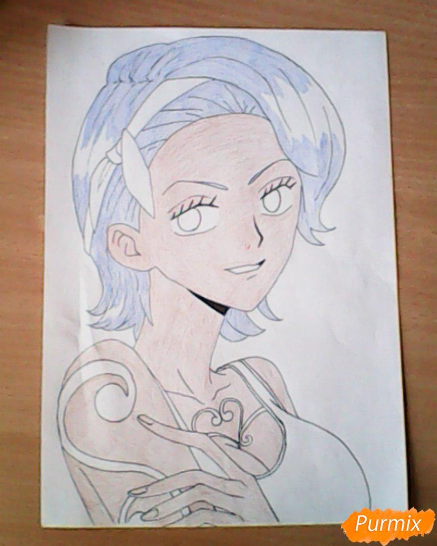 Рисуем и раскрасить портрет Ноджико из One Piece пошагово простым - шаг 20