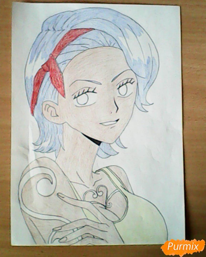 Рисуем и раскрасить портрет Ноджико из One Piece пошагово простым - шаг 21
