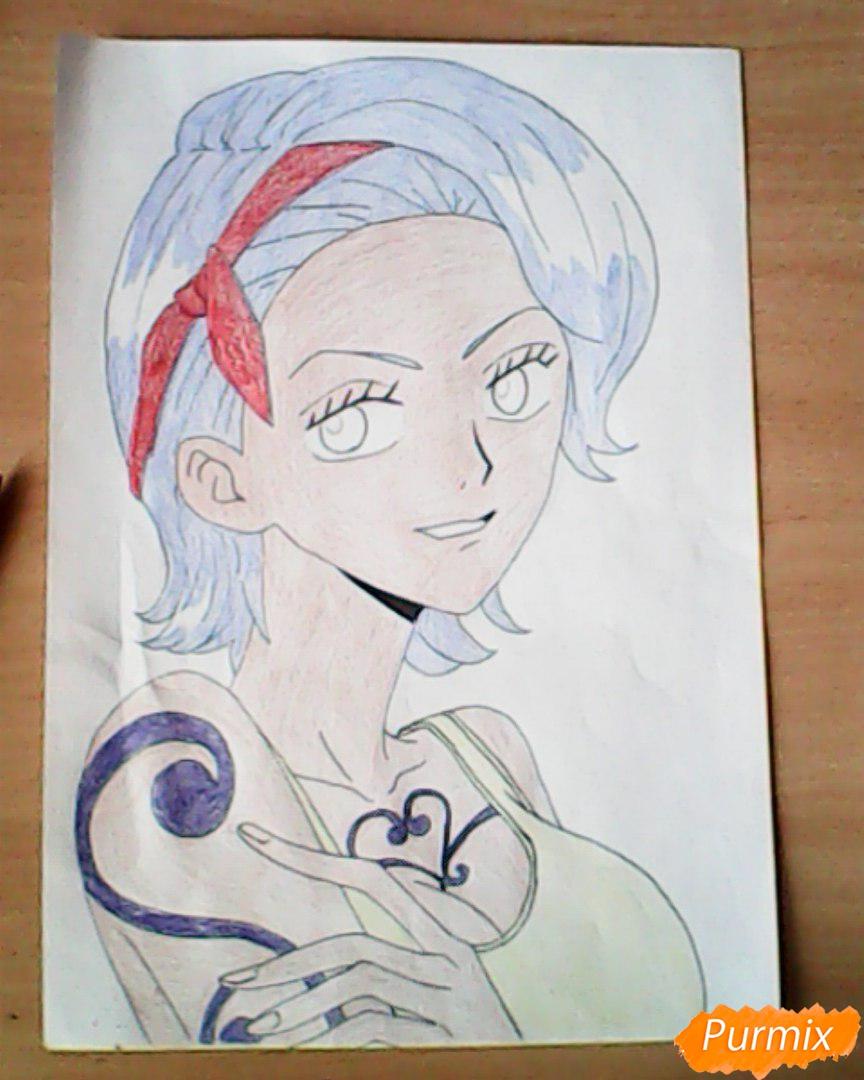 Рисуем и раскрасить портрет Ноджико из One Piece пошагово простым - шаг 22