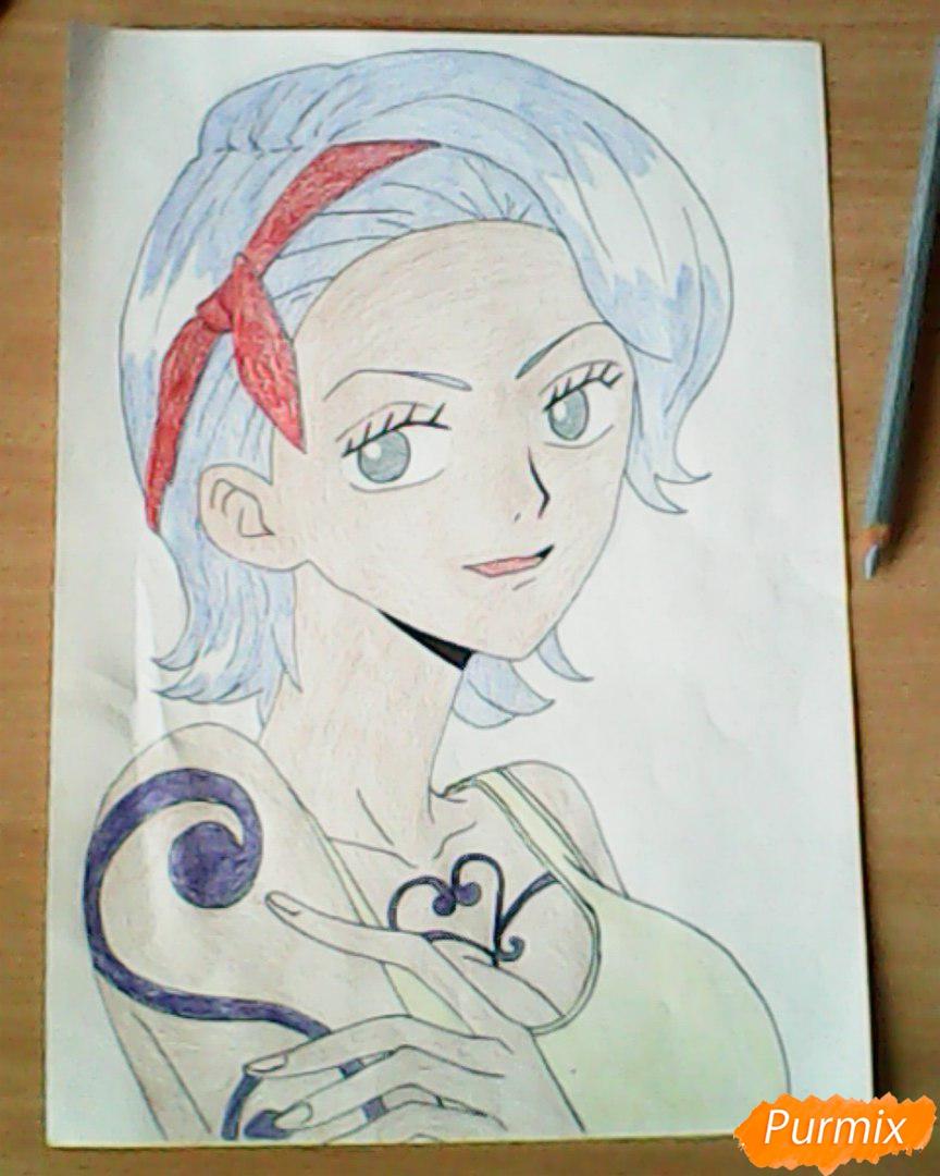 Рисуем и раскрасить портрет Ноджико из One Piece пошагово простым - шаг 23