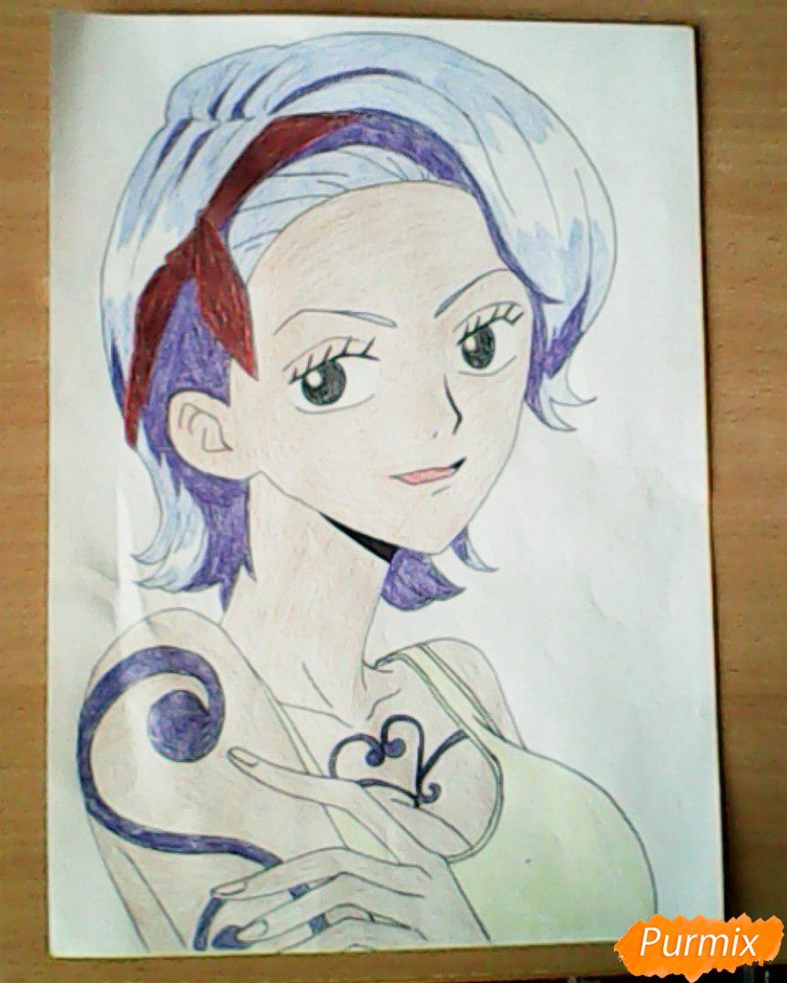 Рисуем и раскрасить портрет Ноджико из One Piece пошагово простым - шаг 24