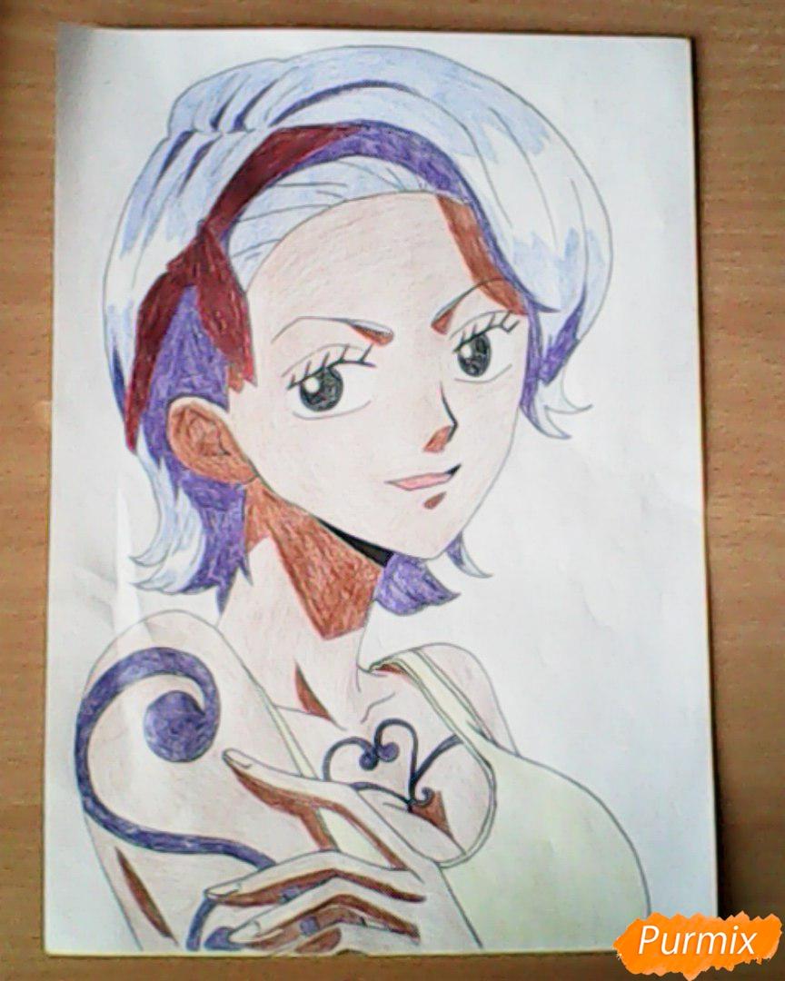 Рисуем и раскрасить портрет Ноджико из One Piece пошагово простым - шаг 25