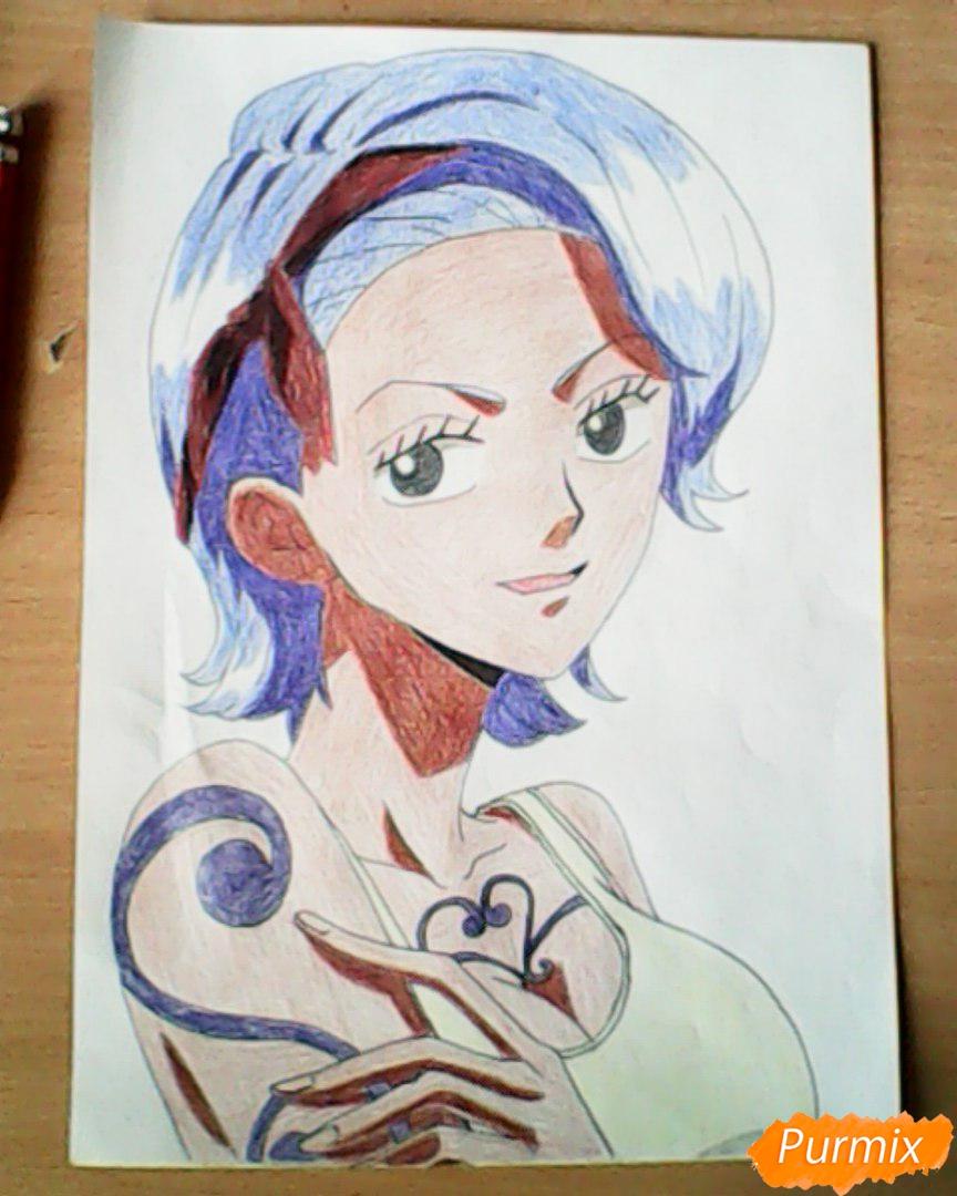 Рисуем и раскрасить портрет Ноджико из One Piece пошагово простым - шаг 27