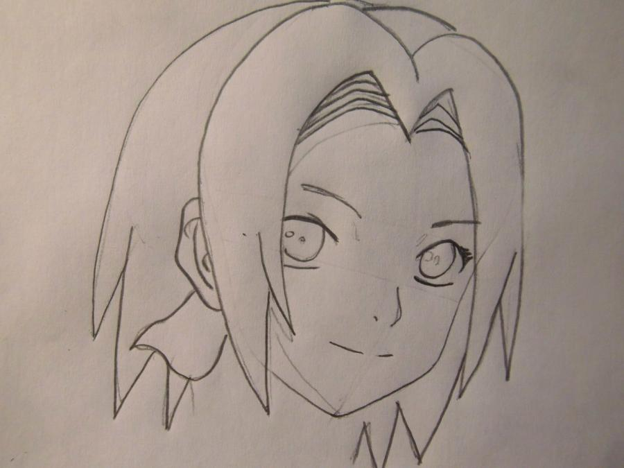 Рисуем портрет Сакуры - шаг 3