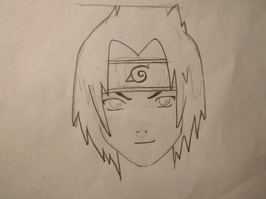 Рисуем портрет Саске Учиха - шаг 3
