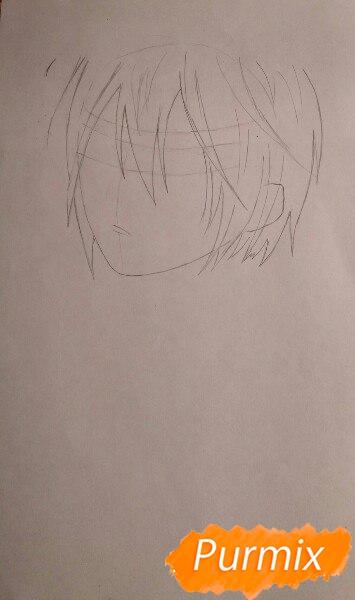 Рисуем портрет Ято из аниме Бездомный Бог карандашами - шаг 2