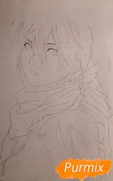 Рисуем портрет Ято из аниме Бездомный Бог карандашами - шаг 4