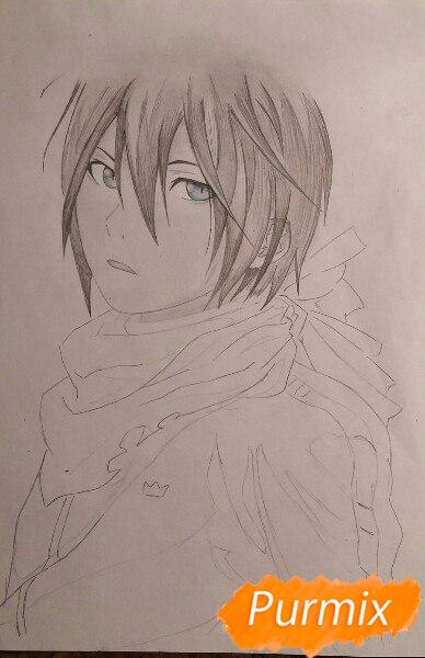 Рисуем портрет Ято из аниме Бездомный Бог карандашами - шаг 6