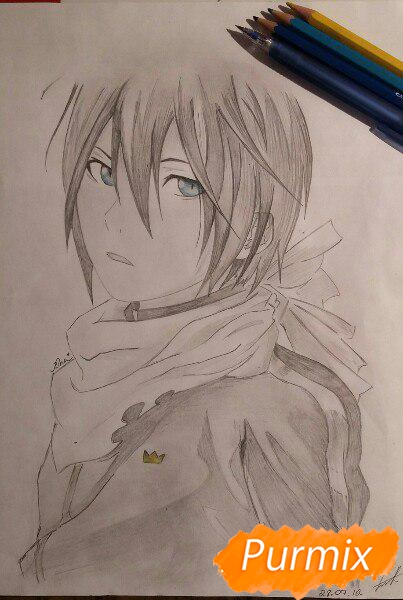 Рисуем портрет Ято из аниме Бездомный Бог карандашами - шаг 7