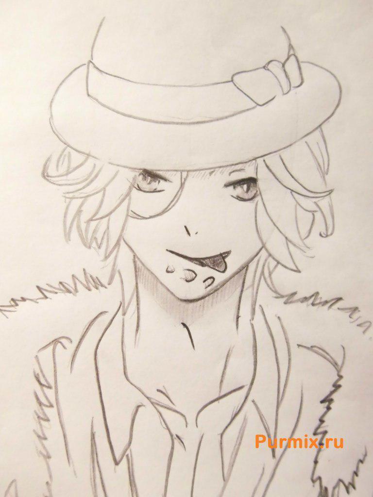 Рисуем Райто Сакамаки из аниме Дьявольские возлюбленные - шаг 7