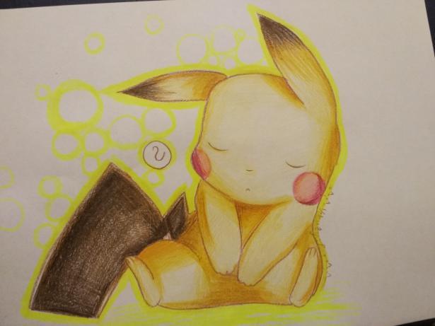 Рисуем раскрасить спящего Пикачу карандашами - шаг 9