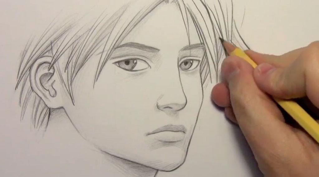 Рисуем манга парня - шаг 9