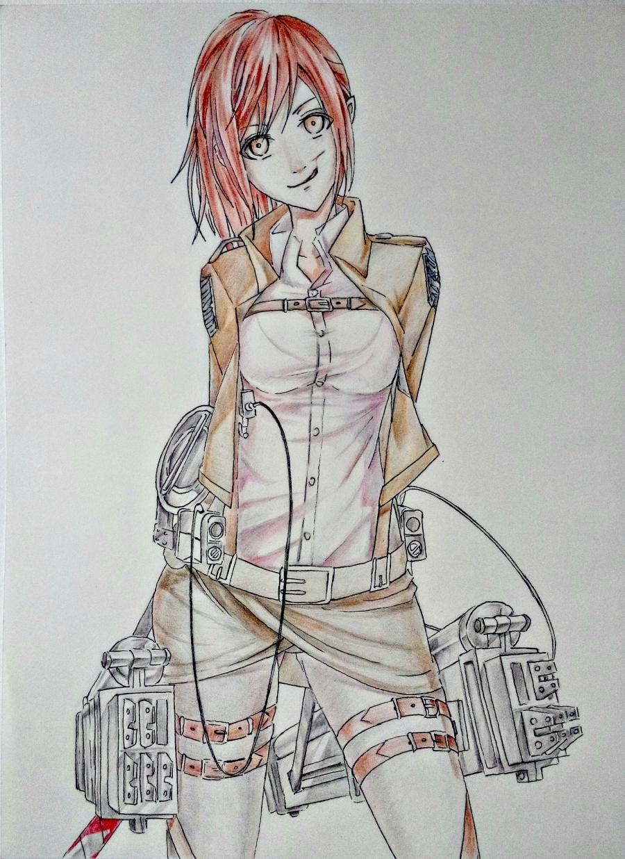 Рисуем Сашу Брауз из Атаки титанов цветными карандашами - шаг 10
