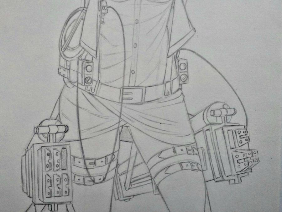 Рисуем Сашу Брауз из Атаки титанов цветными карандашами - шаг 5