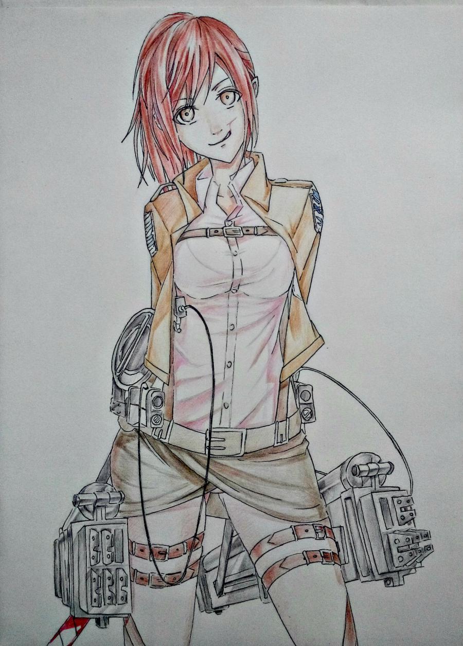 Рисуем Сашу Брауз из Атаки титанов цветными карандашами - шаг 9