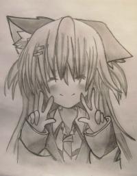 счастливую аниме девушку карандашом