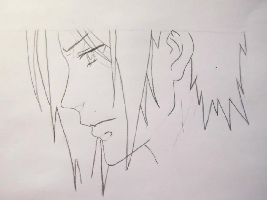 Рисуем Себастьяна Михаэлиса из аниме Тёмный дворецкий - шаг 3