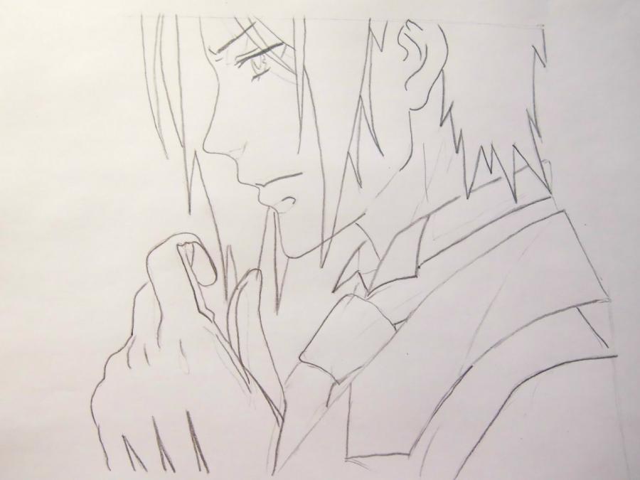 Рисуем Себастьяна Михаэлиса из аниме Тёмный дворецкий - шаг 4