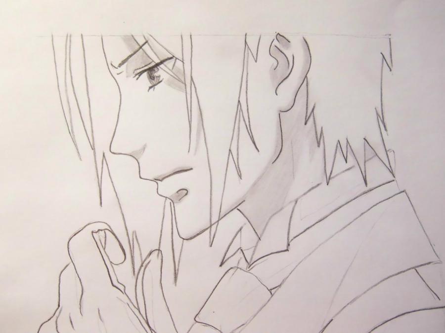 Рисуем Себастьяна Михаэлиса из аниме Тёмный дворецкий - шаг 5