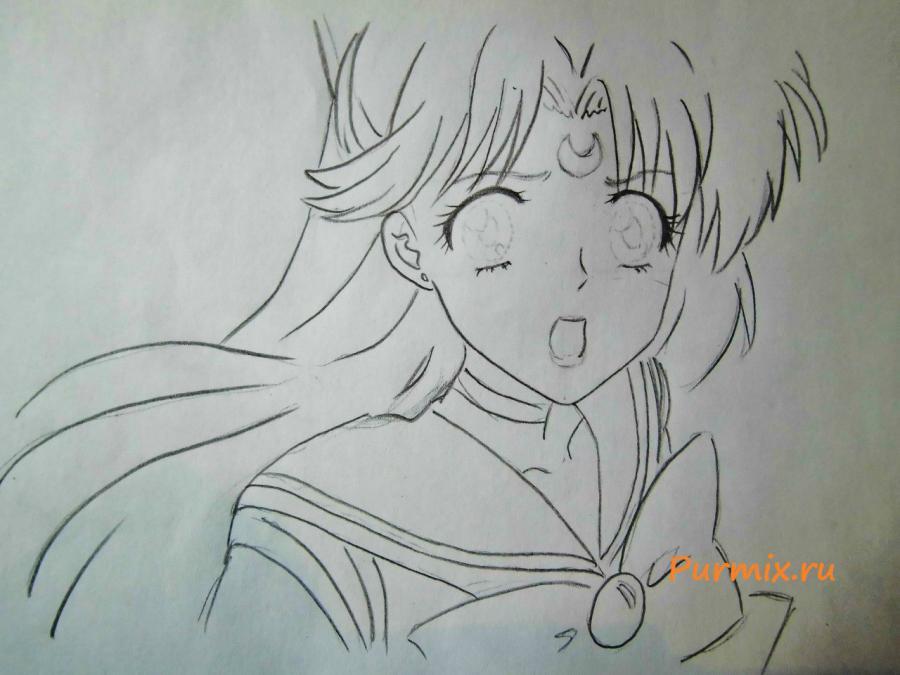 Рисуем портрет Сейлор Венеру - шаг 4