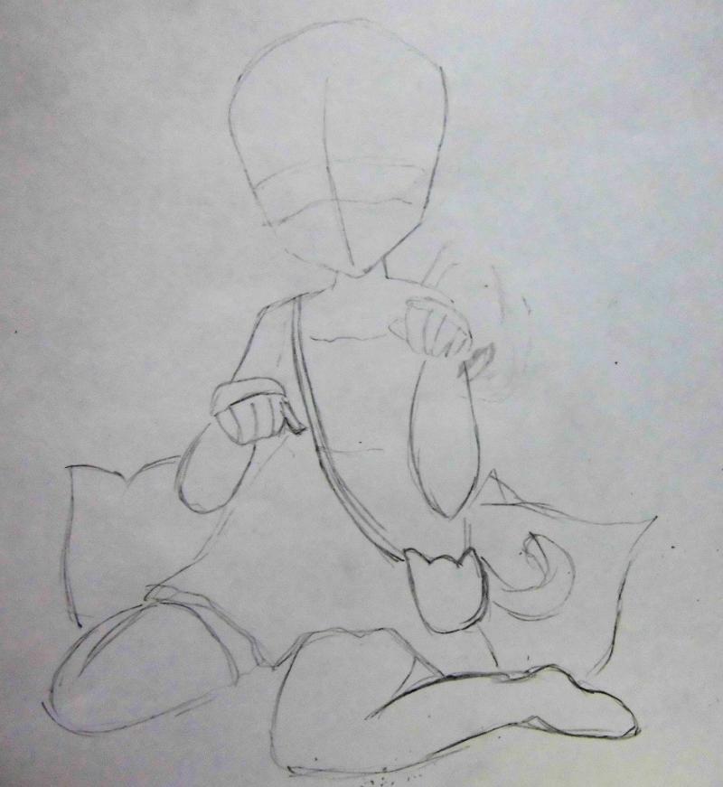 Рисуем сидящую аниме девочку с ушками - шаг 1