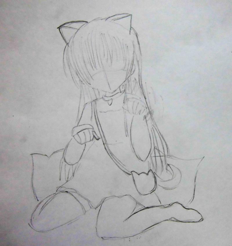 Рисуем сидящую аниме девочку с ушками - шаг 2