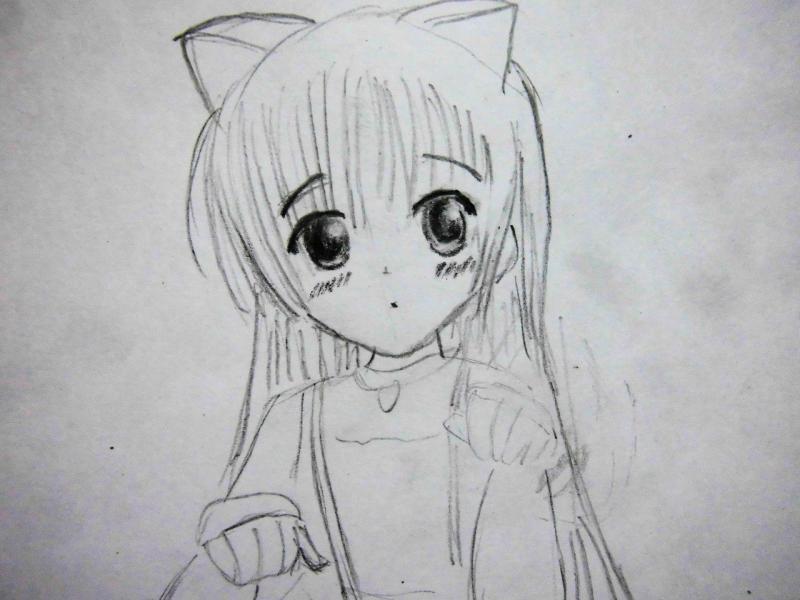 Рисуем сидящую аниме девочку с ушками - шаг 3