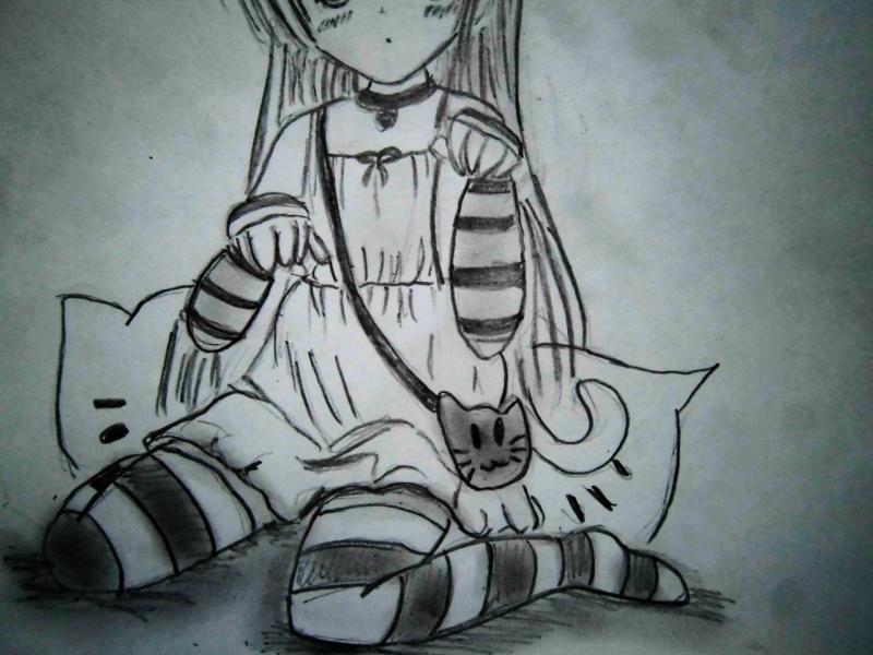 Рисуем сидящую аниме девочку с ушками - шаг 5