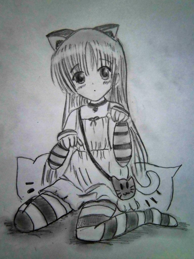 Рисуем сидящую аниме девочку с ушками - шаг 6