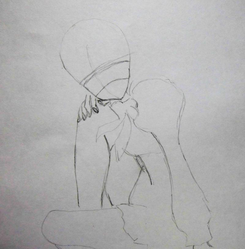 Рисуем сидящую аниме девушку - шаг 1