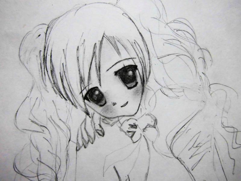 Рисуем сидящую аниме девушку - шаг 3
