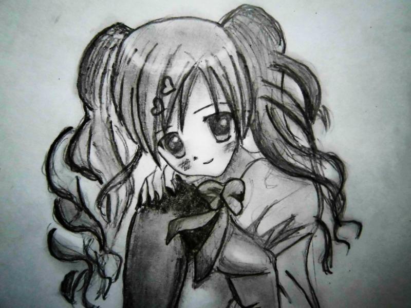 Рисуем сидящую аниме девушку - шаг 4