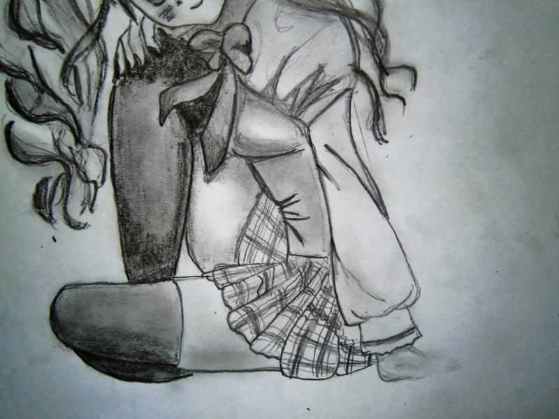 Рисуем сидящую аниме девушку - шаг 5