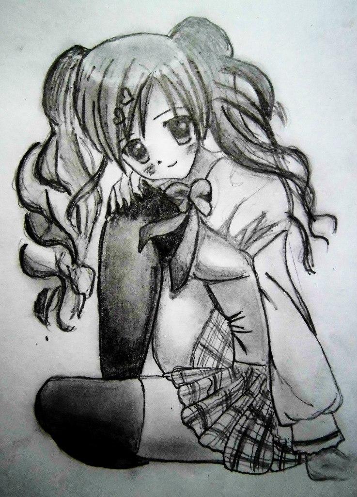 Рисуем сидящую аниме девушку - шаг 6