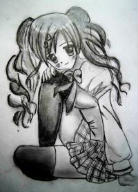 сидящую аниме девушку карандашом