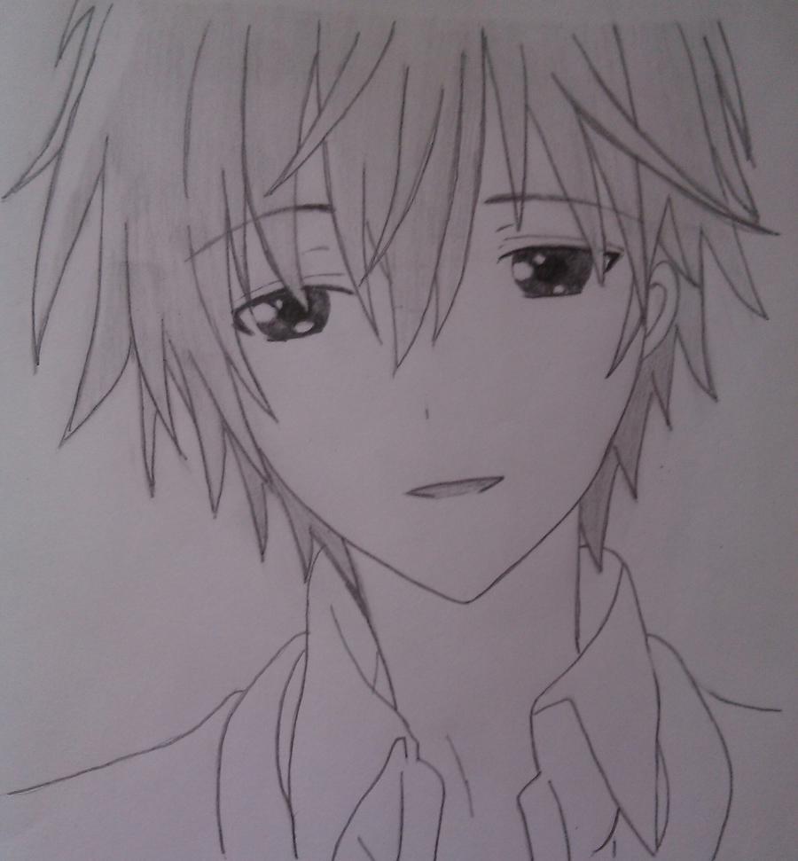 Рисуем Соши Микецуками из аниме Пес,я и секретная служба карандашами - шаг 6