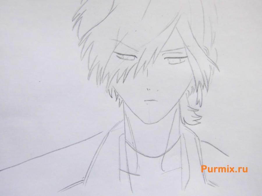 Рисуем Субару Сакамаки из аниме Дьявольские возлюбленные карандашами - шаг 4