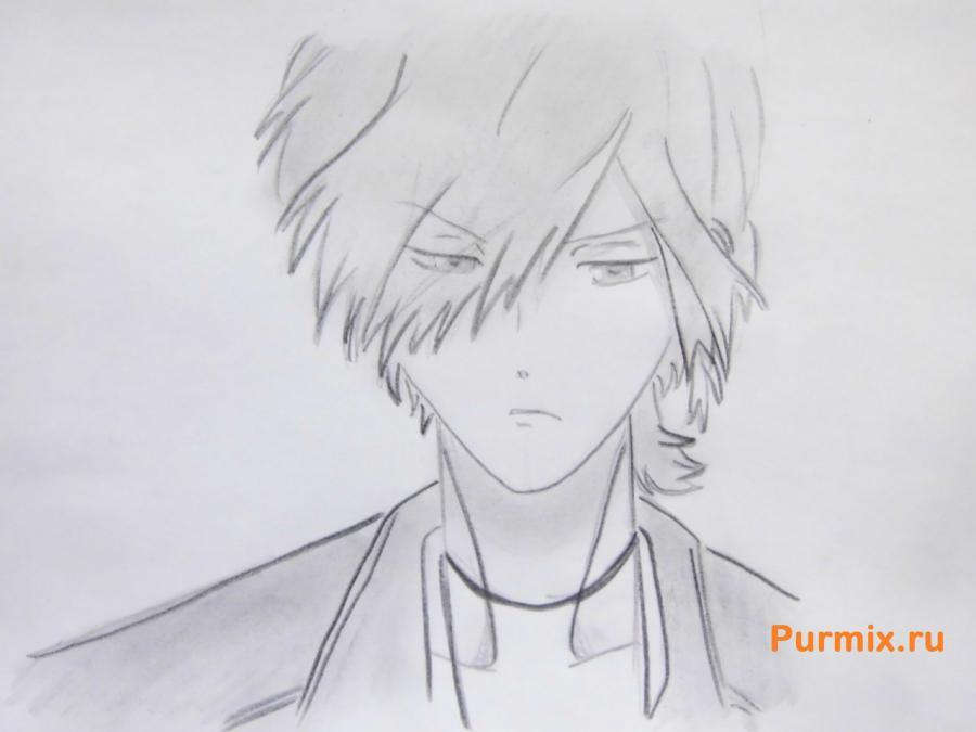 Рисуем Субару Сакамаки из аниме Дьявольские возлюбленные карандашами - шаг 7