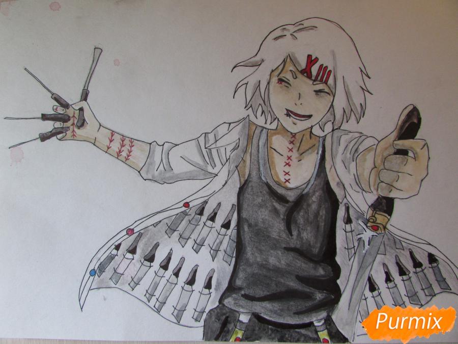 Рисуем и раскрасить Судзую Дзудзо с ножами - шаг 10