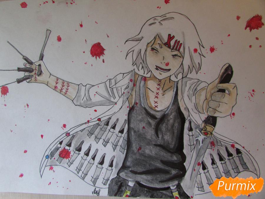 Рисуем и раскрасить Судзую Дзудзо с ножами - шаг 11