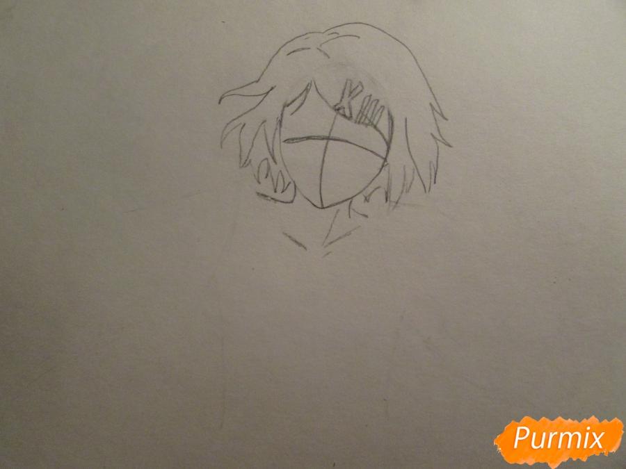 Рисуем и раскрасить Судзую Дзудзо с ножами - шаг 2