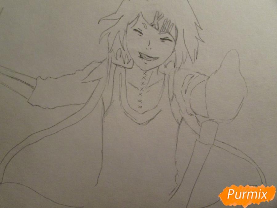 Рисуем и раскрасить Судзую Дзудзо с ножами - шаг 3