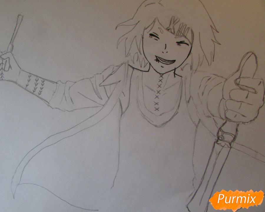 Рисуем и раскрасить Судзую Дзудзо с ножами - шаг 4