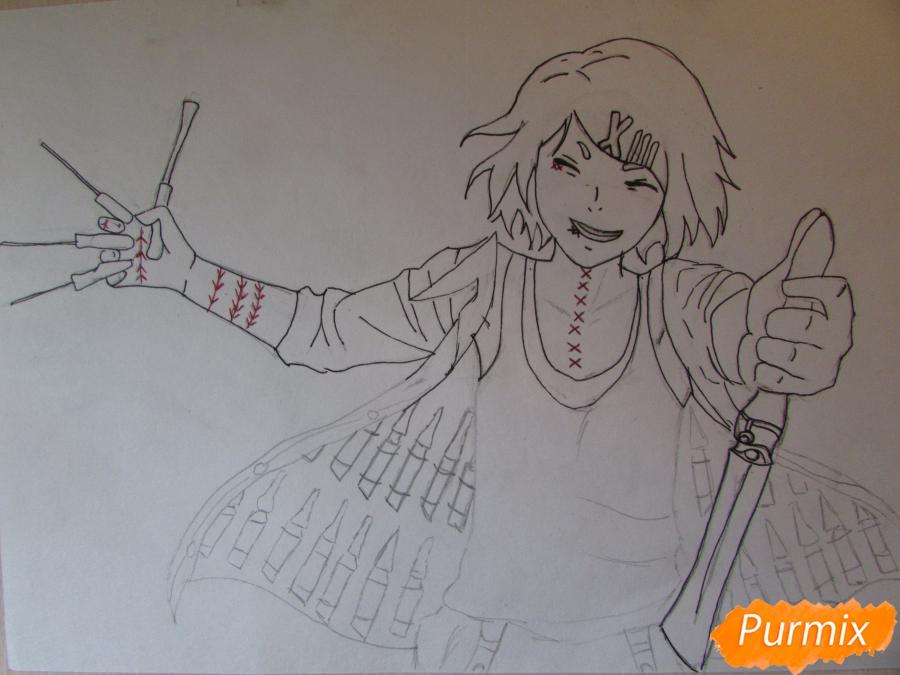 Рисуем и раскрасить Судзую Дзудзо с ножами - шаг 5