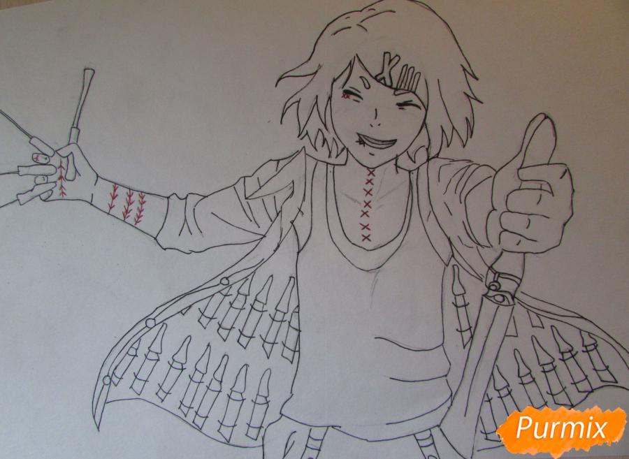 Рисуем и раскрасить Судзую Дзудзо с ножами - шаг 6