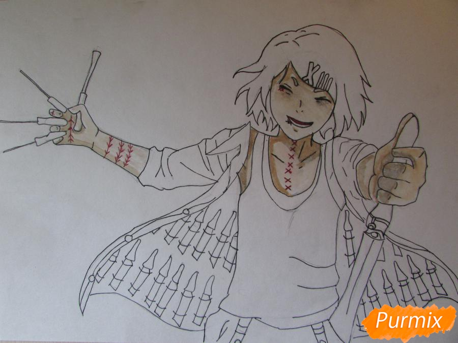 Рисуем и раскрасить Судзую Дзудзо с ножами - шаг 7