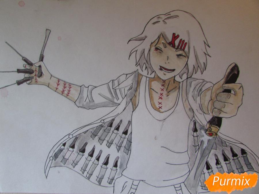 Рисуем и раскрасить Судзую Дзудзо с ножами - шаг 8