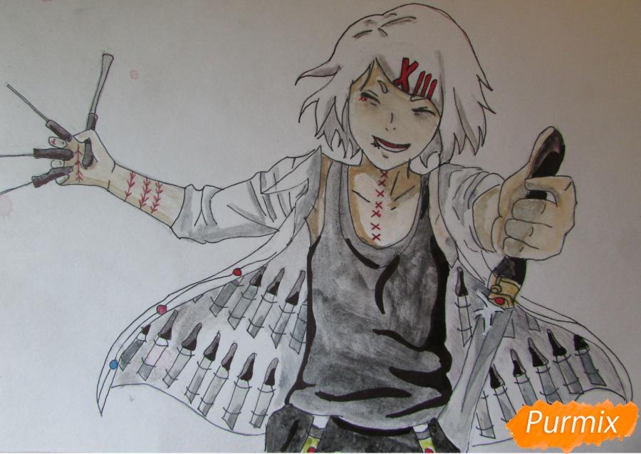 Рисуем и раскрасить Судзую Дзудзо с ножами - шаг 9